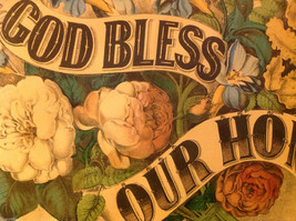 Currier and Ives Lithograph colorized God Bless our Home circa late 1800s image 3