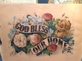 Currier and Ives Lithograph colorized God Bless our Home circa late 1800s image 7