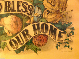 Currier and Ives Lithograph colorized God Bless our Home circa late 1800s image 5