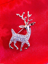 Cute 18K rose gold plated Austrian crystal reindeer pin brooch with green eyes image 2