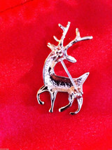 Cute 18K rose gold plated Austrian crystal reindeer pin brooch with green eyes image 4