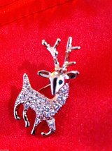 Cute 18K rose gold plated Austrian crystal reindeer pin brooch with green eyes image 3