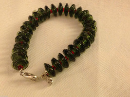 Custom designed glass lampwork beads bracelet USA holiday pine green red berry image 3