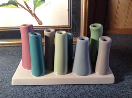 Cute Ceramic Eight Colorful Flower and or Stem Holder on Rectagular Base image 2