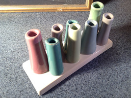 Cute Ceramic Eight Colorful Flower and or Stem Holder on Rectagular Base image 4
