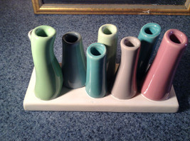 Cute Ceramic Eight Colorful Flower and or Stem Holder on Rectagular Base image 5