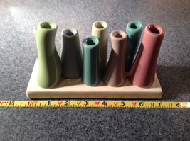 Cute Ceramic Eight Colorful Flower and or Stem Holder on Rectagular Base image 6