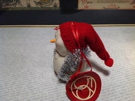 Cute All Tangled Up Porcelain Snowman Figurine Ornament Real Red Knitted Hat image 3