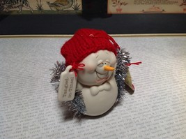 Cute All Tangled Up Porcelain Snowman Figurine Ornament Real Red Knitted Hat image 5