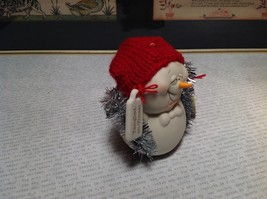 Cute All Tangled Up Porcelain Snowman Figurine Ornament Real Red Knitted Hat image 2