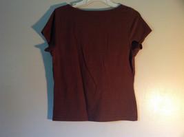 Cute Casual Brown Liz Claiborne Short Sleeve V Neck Top image 5