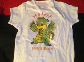 Cute Brands White Short Sleeve Shirt Rock Star Dragon on Front Size Small image 3