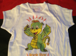 Cute Brands White Short Sleeve Shirt Rock Star Dragon on Front Size Small image 6