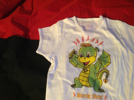 Cute Brands White Short Sleeve Shirt Rock Star Dragon on Front Size Small image 4