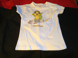 Cute Brands Girls White Short Sleeve Shirt Turtle and Dreamer on Front Size M image 2
