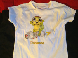 Cute Brands Girls White Short Sleeve Shirt Turtle and Dreamer on Front Size M image 3