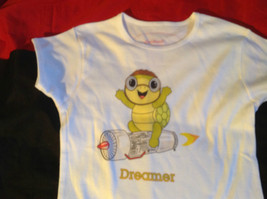 Cute Brands Girls White Short Sleeve Shirt Turtle and Dreamer on Front Size M image 6