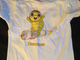 Cute Brands Girls White Short Sleeve Shirt Turtle and Dreamer on Front Size M image 4