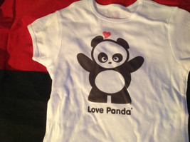 Cute Brands Short Sleeve Shirt with Panda and Love Panda on Front Size Large image 3