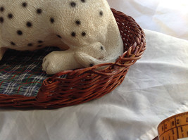 Cute Dalmatian Statue Laying in Basket Bed See Measurements Below image 3