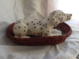 Cute Dalmatian Statue Laying in Basket Bed See Measurements Below image 5