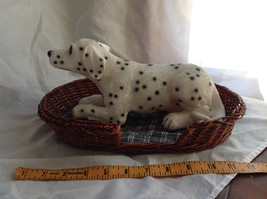 Cute Dalmatian Statue Laying in Basket Bed See Measurements Below image 7
