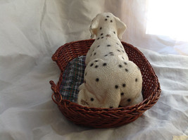 Cute Dalmatian Statue Laying in Basket Bed See Measurements Below image 6