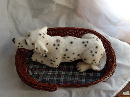 Cute Dalmatian Statue Laying in Basket Bed See Measurements Below image 2