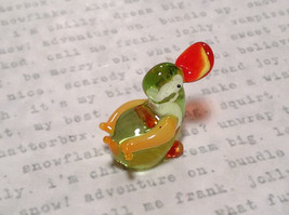 Cute Hand Blown Glass Mini Figurine Light Green and Yellow Duck Made in USA image 5
