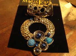 Cute Circular Gold Tone Scarf Pendant with Blue Beads Stones and Crystals image 2