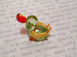 Cute Hand Blown Glass Mini Figurine Light Green and Yellow Duck Made in USA image 3