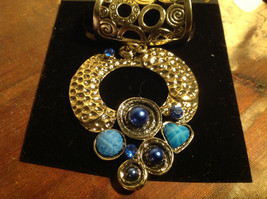 Cute Circular Gold Tone Scarf Pendant with Blue Beads Stones and Crystals image 3
