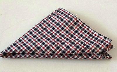 """HAIGHT & ASHBURY  Handkerchiefs POCKET SQUARE POCHETTE CHECK SILK 11"""" X 11"""""""