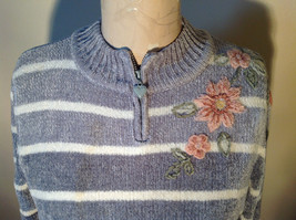 Cute Gray Sweater Very Soft Alfred Dunner Petite Stripes and Flowers Size PM image 2