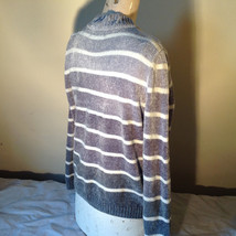 Cute Gray Sweater Very Soft Alfred Dunner Petite Stripes and Flowers Size PM image 7