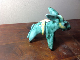 Cute Handmade Hand Painted Green Donkey with Little Tray on Side image 2