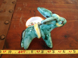 Cute Handmade Hand Painted Green Donkey with Little Tray on Side image 7