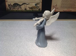 Cute Porcelain Angel Figurine with Violin White and Light Blue image 5
