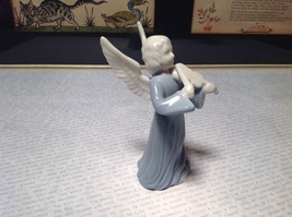 Cute Porcelain Angel Figurine with Violin White and Light Blue image 3