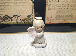 Cute Porcelain Angel Figurine Holding Sign Its a Girl Growing in Grace image 6