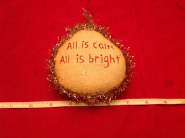 Cute Little Christmas Ornament Pillow Stitched All is Calm All is Bright image 2