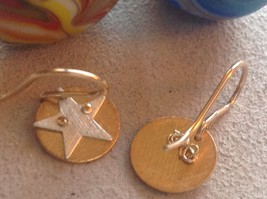 Cute Riveted Baby Disk Earrings with Star Silver on Gold Handmade Zina Kao image 4