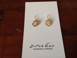 Cute Riveted Baby Disk Earrings with Star Silver on Gold Handmade Zina Kao image 5