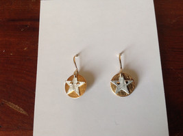 Cute Riveted Baby Disk Earrings with Star Silver on Gold Handmade Zina Kao image 6