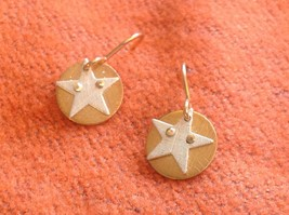 Cute Riveted Baby Disk Earrings with Star Silver on Gold Handmade Zina Kao image 3