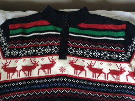 Cute Winter Sweater by Plaid Moose Striped with Moose Reindeer Size Small 8 image 2