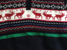 Cute Winter Sweater by Plaid Moose Striped with Moose Reindeer Size Small 8 image 3