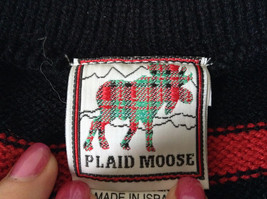 Cute Winter Sweater by Plaid Moose Striped with Moose Reindeer Size Small 8 image 5