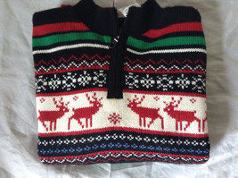 Cute Winter Sweater by Plaid Moose Striped with Moose Reindeer Size Small 8 image 8