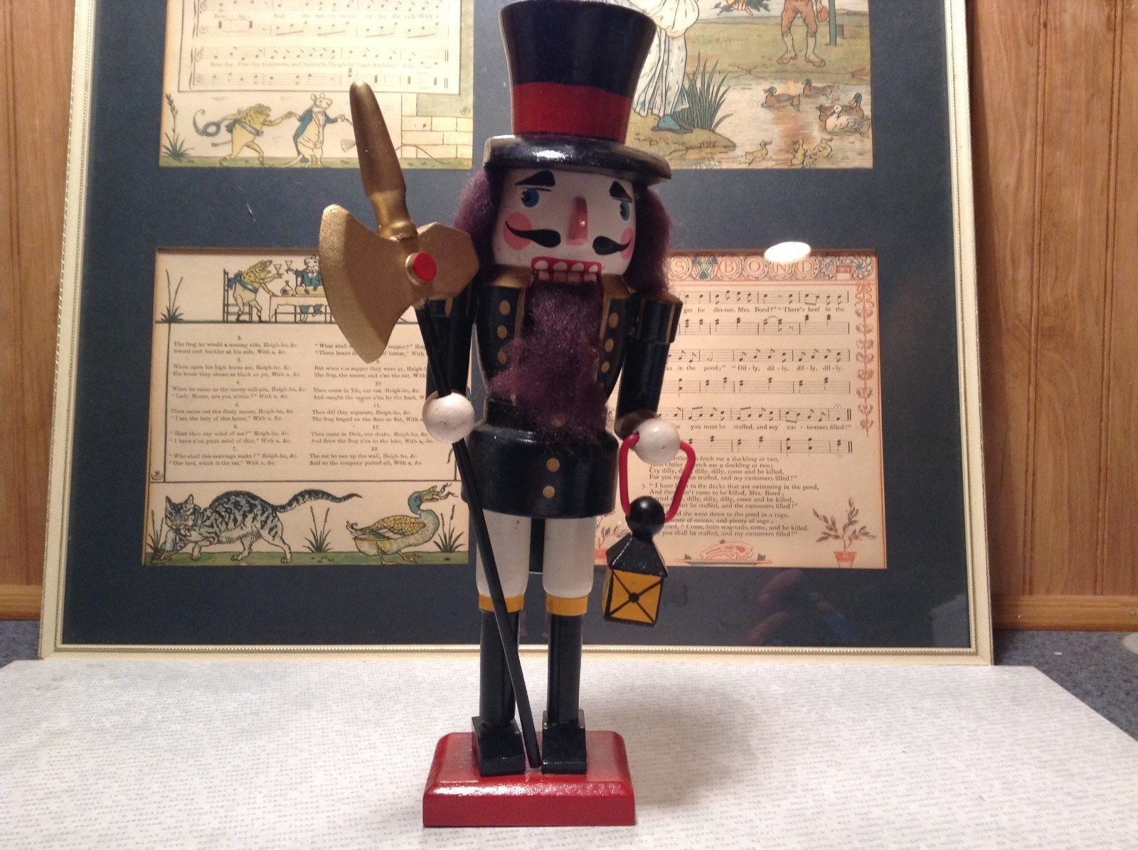 Cute Vintage Nutcracker Soldier Holding Axe and Lantern